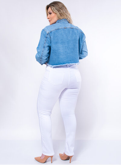 Jaqueta Jeans Plus Size Cropped Destroyed