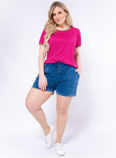 Blusa Plus Size Suede Color Block