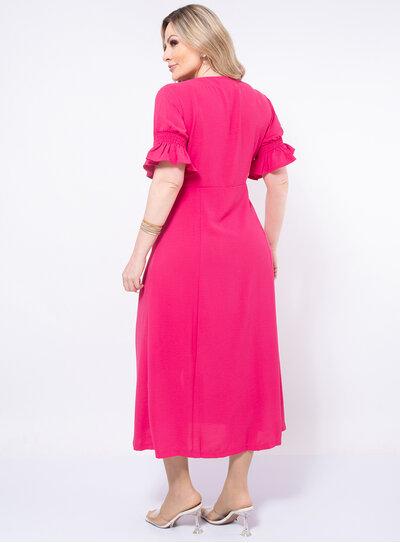 Vestido Plus Size Midi Fenda Frontal