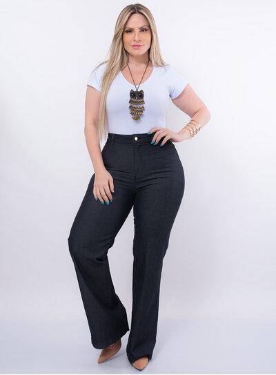 Calça Pantalona Plus Size Jeans