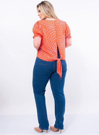 Blusa Plus Size Nozinho nas Costas Poá