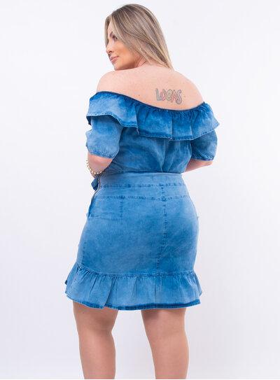 Conjunto Jeans Plus Size Babado