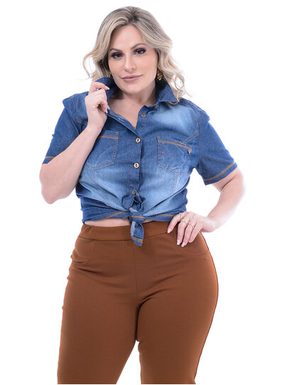 Camisa Jeans Ly Fashion Pesponto Plus Size