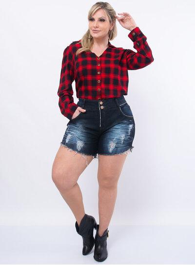 Short Plus Size Jeans Lavagem Escura Destroyed