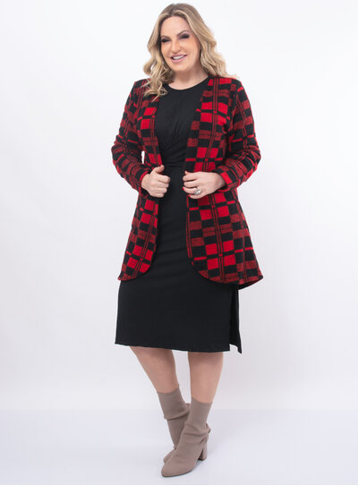Cardigan Plus Size Xadrez
