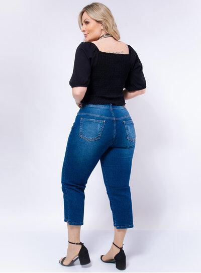Calça Jeans Plus Size Capri Elástico Interno no Cós