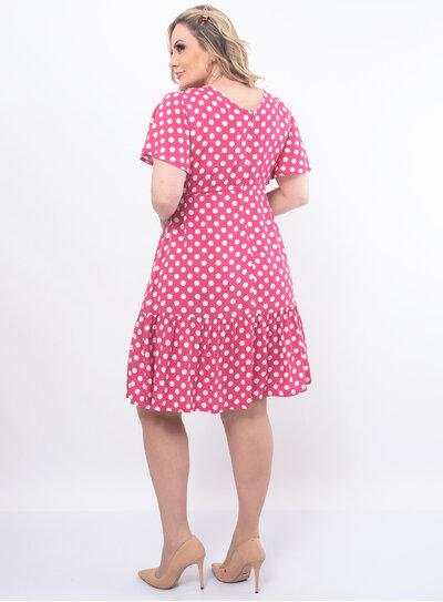Vestido Plus Size Estampa em Poá
