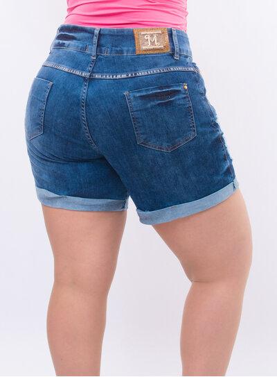 Short Jeans Plus Size Barra Dobrada Destroyed