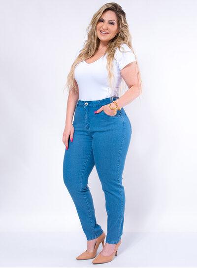 Calça Jeans Plus Size Skinny Delavê