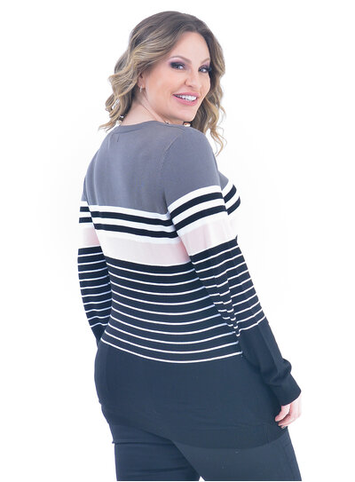 Blusa Plus Size Tricot Listrada