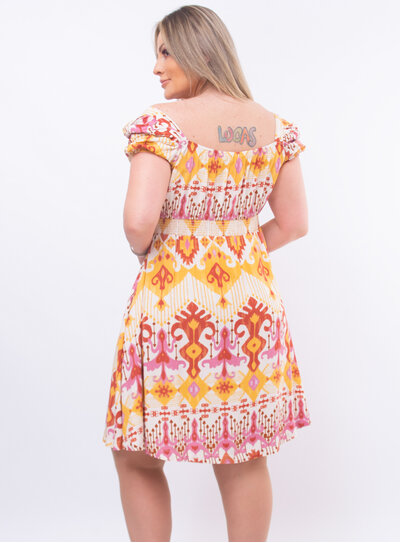 Vestido Plus Size Estampa Geométrica Colorida
