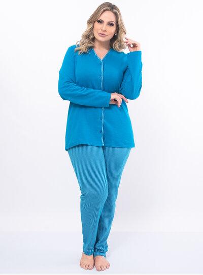 Pijama Plus Size Blusa com Botões