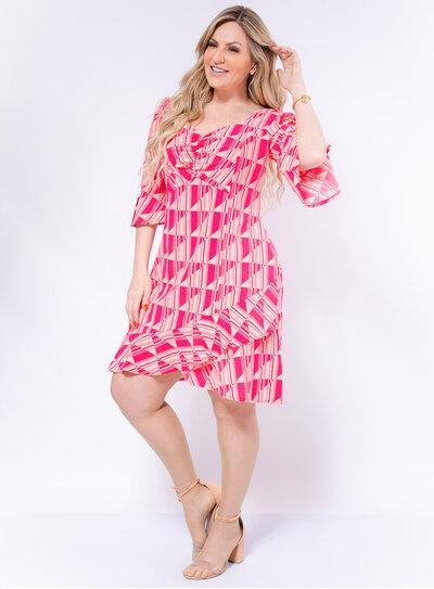 Vestido Plus Size Geométrico