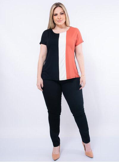 Blusa Plus Size Tricolor Malwee