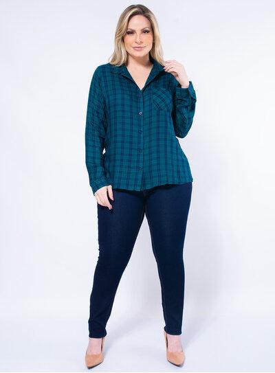 Camisa Plus Size Xadrez Colorida