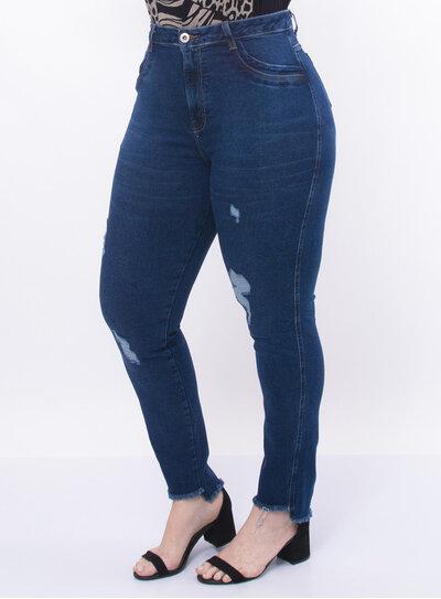 Calça Plus Size Jeans Destroyed