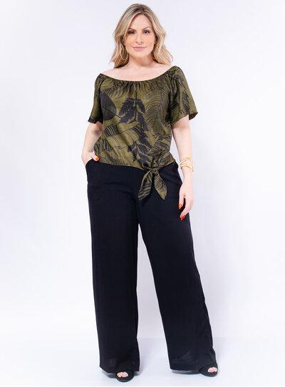 Calça Plus Size Pantalona Viscolinho