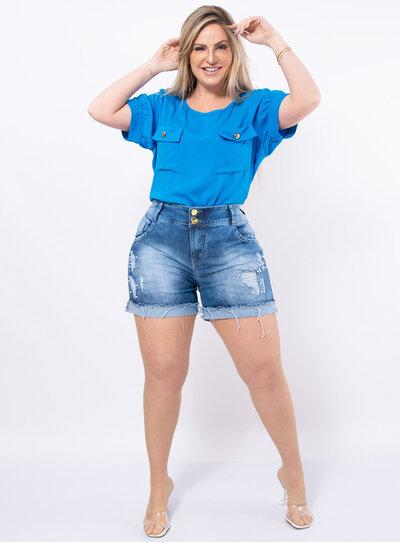Short Jeans Plus Size Marmorizado com Pérolas