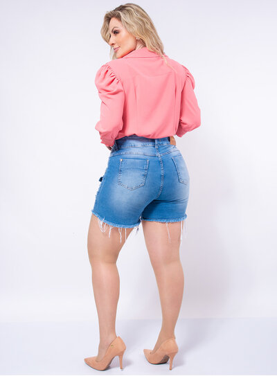 Short Jeans Plus Size Bolso Cargo