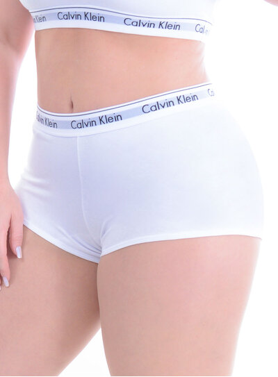 Boyshort Plus Size Branco Calvin Klein