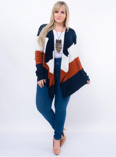 Cardigan Plus Size Tricot com Faixas