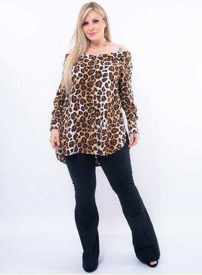 Blusa Plus Size Ombro a Ombro em Animal Print