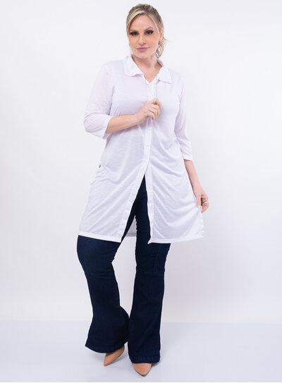 Camisa Plus Size Longa com Fenda
