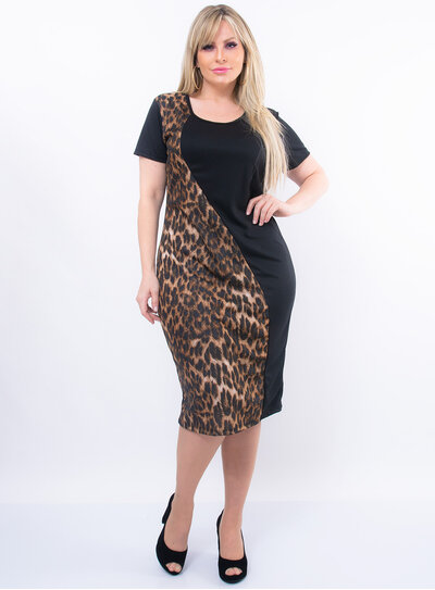 Vestido Plus Size Recorte em Animal Print