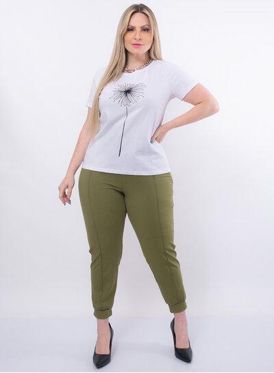 T-Shirt Plus Size Dente de Leão com Strass