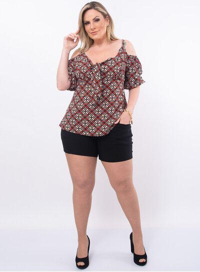 Blusa Plus Size Estampada Decote em Laço