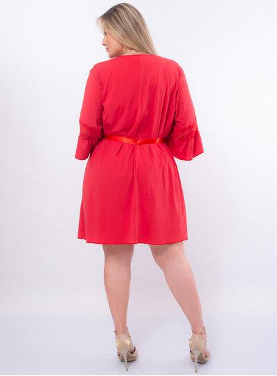 Robe Plus Size Faixa de Cetim