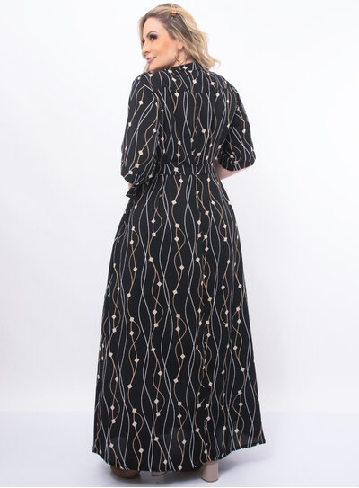 Vestido Plus Size Longo Estampado com Cinto