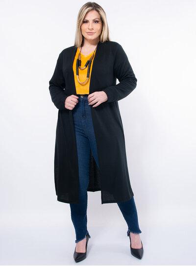 Cardigan Longo Plus Size Fenda Lateral
