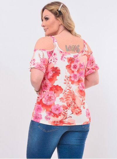 Blusa Plus Size Floral Ciganinha
