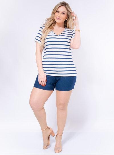 T-shirt Plus Size Malha Tricô Listrada