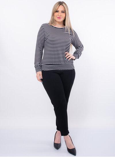 Blusa Plus Size Listrada Lastex