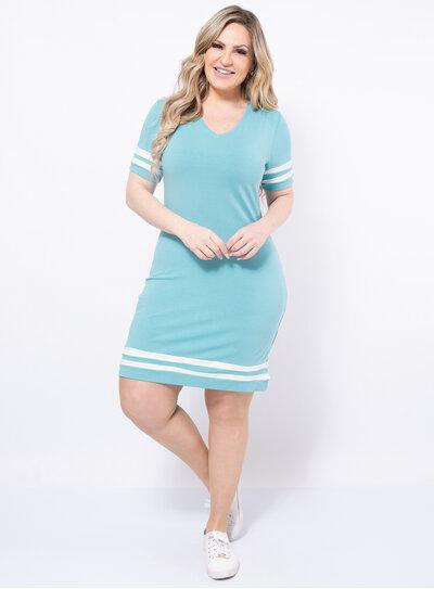 Vestido Plus Size Tubinho Faixas em Malha