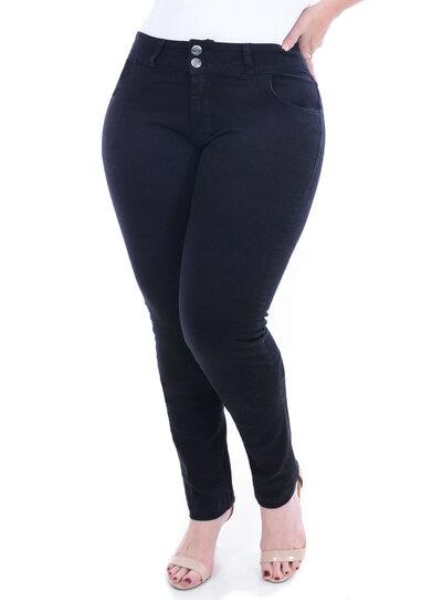 Calça Jeans True E- Motion Preta Plus Size