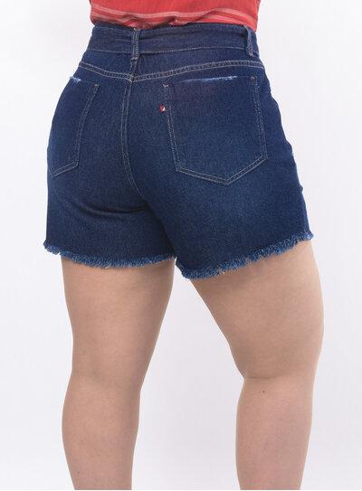 Short Plus Size Jeans com Cinto