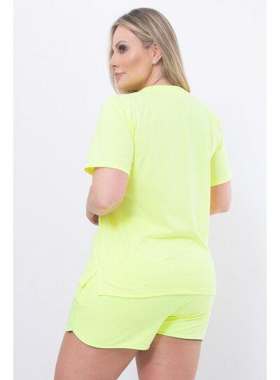 T-Shirt Plus Size Verde Neon