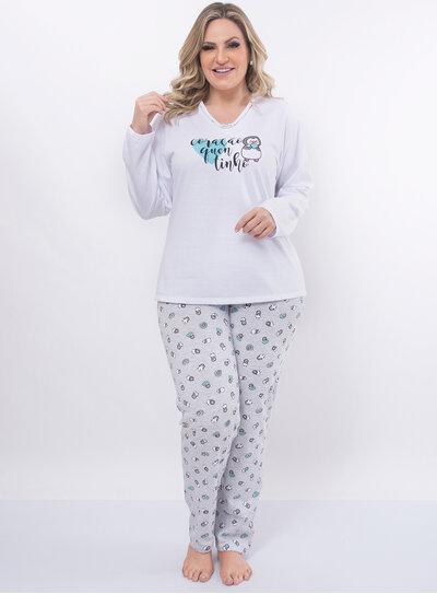 Pijama Plus Size Estampa de Pinguim