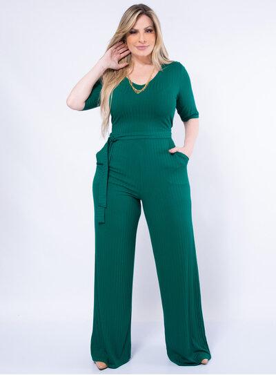 Macacão Pantalona Plus Size Canelado