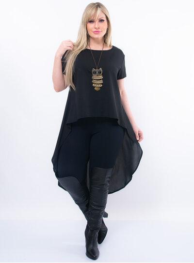 Blusa Plus Size Mullet Alongada
