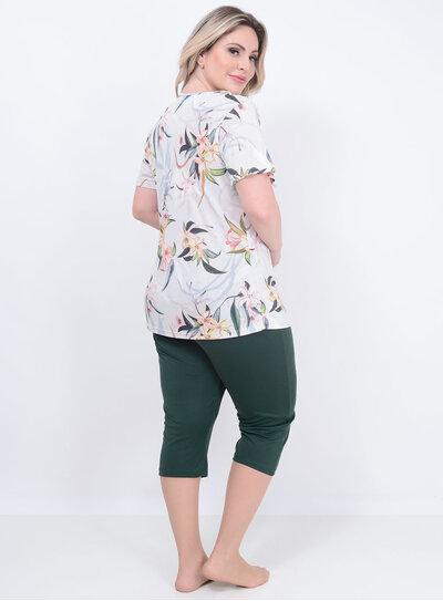 Pijama Pescador Floral Plus Size