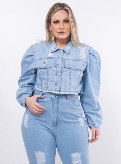 Jaqueta Plus Size Jeans Cropped