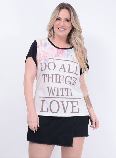 T-shirt Estampada Raglan Plus Size