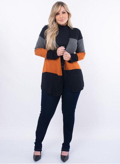 Cardigan Plus Size Faixas