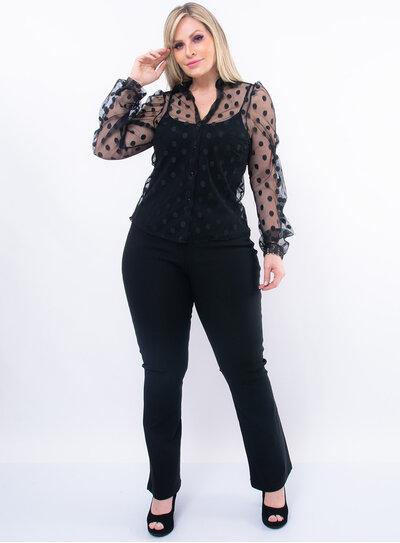 Camisa Plus Size em Tule Poá