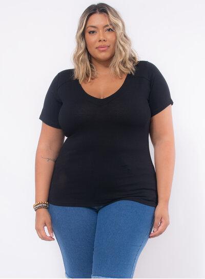 Blusa Plus Size Recorte nas Costas