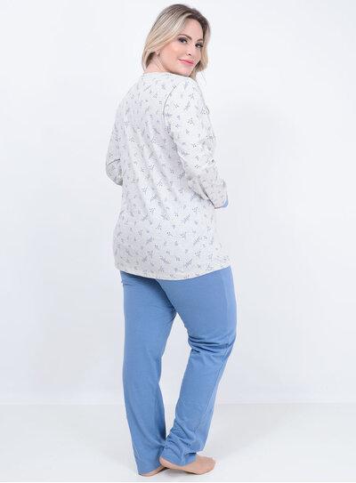 Pijama Longo Folhagens Plus Size